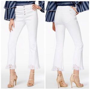 INC White Fringe Trim Cropped Jeans Plus Size 16